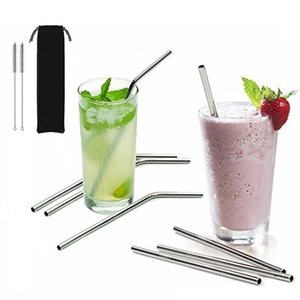 More size straight and bend stainless steel straw and cleaning brush reusable drinking straw bar drinking tool on Sale