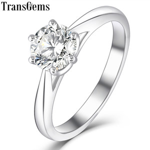 Wholesale Transgems Platinum Plated Silver ct mm H Color Heart Arrows Cut Moissanite Engagement Solitare Ring For Women Wedding Gift J