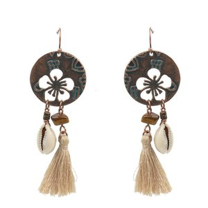 Wholesale shell tin for sale - Group buy Hot Hollow Flower Shell Tassel Earring Fashion Bohemia Europe Party Earrings Jewelry For Women Beach Vacation Fringe Eardrop Gifts