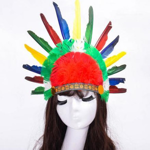 Wholesale roman accessories resale online - Funny High Cosplay Hat Prom Savage Multicolour Feathers Headdress Annual Meeting Cosplay Halloween Unisex Accessories Fashion