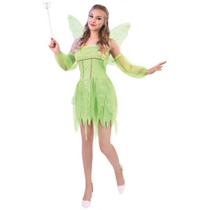 Wholesale Tinker Bell Dress Costume Adult Tinker Bell Dress Skirt Corset Wing Halloween Carnival Party Cosplay Costume