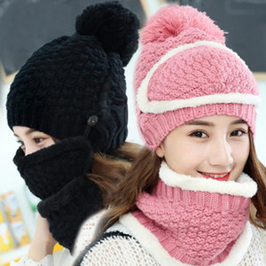 Wholesale 23 styles Knitted Hat Scarf Mask Gloves piece suit piece suit Knitted Costume Cap Winter Soft Warm Girls Beanies more