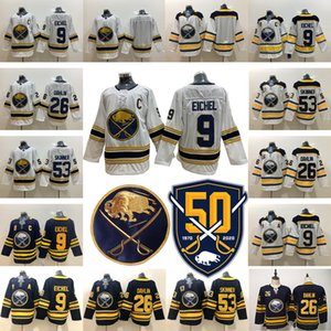Wholesale Buffalo Sabres 50th Golden 9 Jack Eichel 26 Rasmus Dahlin 53 Jeff Skinner Home Away Hockey Jerseys