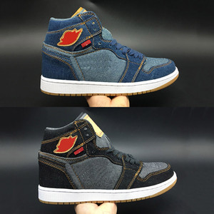 Wholesale 1 Union Jeans Breathable Basketball Shoes Men Limited Designer Top Quality Blue Black Cow Sports Fashion Sneakers Size40