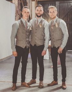 Wholesale Hot Sale High Quality Gray Wool Tweed Vests For Wedding Custom Made Plus Size Formal Groom s Suit Vest Slim Fit Waistcoat For Men