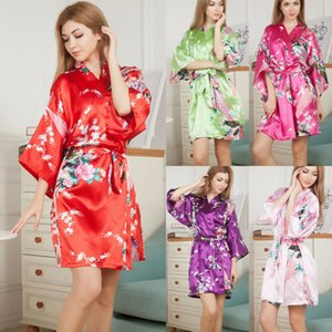 Wholesale Summer Women Robe Silk Satin Robes Flower Print Lady Mini Kimono Robe Bath Gown Yukata Nightgown Sleepwear Pijama Mujer