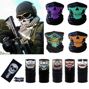 Wholesale Skull Magic Turban Bandanas Skull Face Masks Skeleton Outdoor Sports Ghost Neck Scarves Headband Cycling Motorcycle Wrap MMA1825