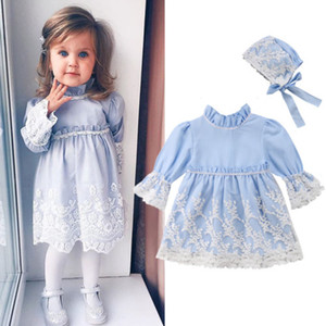 vestidos de novia mangas para niños  al por mayor-2019 Winter Toddler Princess Girls Dress Fall Kids Vestidos de manga larga para niñas Lace Hats Party Wedding Floral Children Clothing