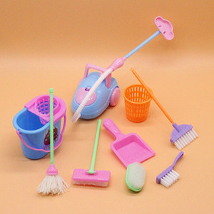 9Pcs Set Doll Accessories Mini Broom Mop Trash Can Household Cleaning Tools For Barbie Doll house Kids Educational Toy