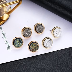 Wholesale 201909 Gold Plated Kendra Style Scott Mini Druzy Drusy Earrings Round Faux Stone Charm Earrings For Women Jewelry Fashion Accessories M607F