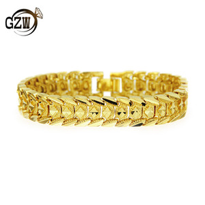 Wholesale New Fashion MM Designer Gold Plated Vintage Wide Snake Chain Mens Bracelet Wristband Hip Hop Rapper Jewelry Birthday Gifts for Men Boys