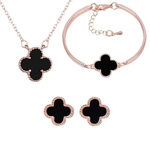 18K Rose Gold Plated Four Leaves Necklace Earrings Bracelet for Women Wedding Jewelry Set Bridal Jewelry Luxury Noble Accessory 3PCS  Set