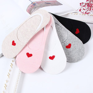 Wholesale Women s Socks Summer New Pairs Shallow Mouth boat Socks ladies Korean love invisible needles Cotton