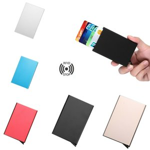 Wholesale RFID Blocking Metal Wallet Men Ladies Auto Credit Cards Holder Pop Up Money Carte Clip Box Thin Bank Card Package Purse Antimagnetic