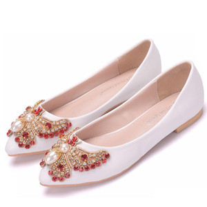 Wholesale 34 Plus Size White Crystal Wedding Shoes Rhinestone Buckle Bridal Pointed Toe Bow Flats Beaded Butterfly Leather Single Shoes