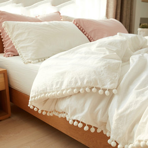 Wholesale pink gold bedding sets resale online - Pink Bedding Sets With Washed Ball Decorative Microfiber Fabric Queen King Duvet Cover Pillowcase Comfortable