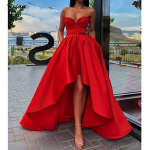 Wholesale Simple Red Sweetheart Neck Prom Dress Satin A Line Hi-Lo with Pockets Plus Size 2020 Sleeveless Long Evening Party Gown