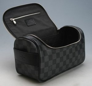 Fashion Women's Bags Black Plaid Cosmetic Bag Travel Wash Bag