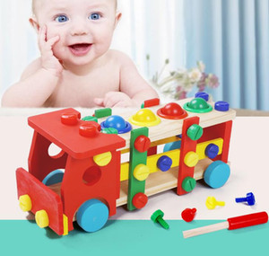 Coloured Wooden Creative Baby and Child Intelligence Disassembly Nut Knock Ball Car Intelligence Toy Assembly Building Block