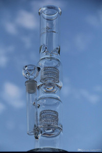 "New 17""glass bubbler heavy bases Matrix water pipe bong two Tire perc glass pipe thick 6mm glass smoking joint 18.8mm"