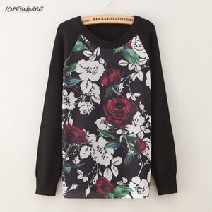 Wholesale Fashion Sweater Womens Printing Rose Fashion Warm Polyester New Sweater Long Sleeve Stretch Pure Sweater Top Fall Winter Pullove