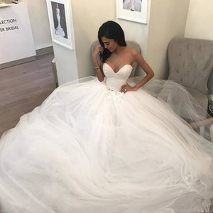 Wholesale beautiful detailed wedding dresses resale online - Charming Sweetheart Neckline Wedding Dress Satin and Tulle Puffy Skirt Ball Gown Beautiful Wedding Dress vestidos de madrinha de casamento