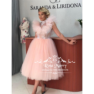 Wholesale vintage prom dresses high neck resale online - Pink High Neck Tea Length Prom Dresses A Line Vintage Lace Plus Size Ruffles Cheap Arabic Formal Engagement Evening Party Gowns