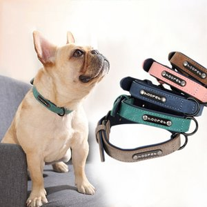 Wholesale Dog Collars Personalized Custom Leather Dog Collar Name ID Tags For Small Medium Large Dogs Pitbull Bulldog Beagle p9