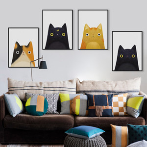 Wholesale Nordic Watercolor Cute Cartoon Cat Animals Posters And Prints Nursery Baby Room Decor Canvas Painting Wall Art Picture For Kids