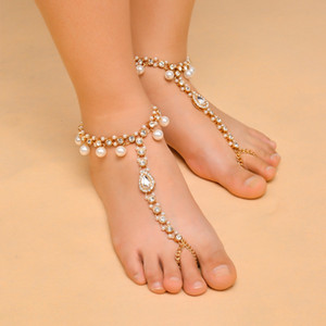 Wholesale barefoot sandals Boho Bridal Barefoot Sandals Imitation Pearl Pendant Crystal Rhinestone Multilayer Anklet Wedding Beach Foot Chain Jewelry