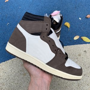 Wholesale 1 s mens basketball shoes Travis Scotts high OG brown black white top quality Genuine leather fashion sports sneakers with box