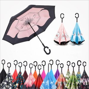 Wholesale Outdoor Inverted Umbrella Windproof Inside Out Double Layer Nylon Fabric C Hook Hands Sun Rain Folding Reverse Umbrellas YSY141