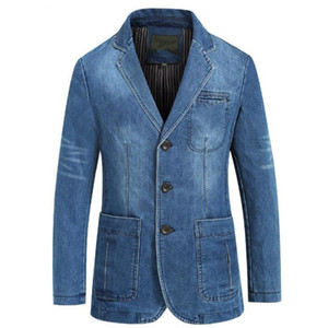 Wholesale New Spring and Autumn Mens Denim Jacket Business Casual Cotton Jacket Suit Slim Solid Color Large Size Mens coat