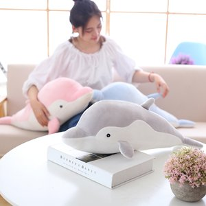 Wholesale Soft Dolphin Plush Toys Dolls Stuffed Down Cotton Animal Pillow Kawaii Office Nap Pillow Kids Toy Christmas Gift for Girls