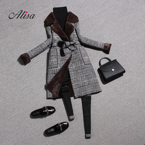 Ladies Winter Coats Fashion Long Sleeve Plaid Slim Woolen Overcoat 2018 New Women Wool Keep Warm Medium Long Coat Abrigo Mujer