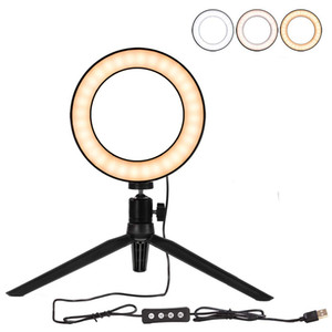6'' LED Ring Light with Tripod Stand for Makeup YouTube Video, Selfie Ring Light for Live Stream Photography with 3 Light Modes table lamp