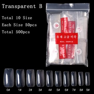 Wholesale Tamax 500Pcs False Nail Clear  White Full Cover French Nail Tips U-shape Acrylic UV Gel Manicure Fake Nails Art Tips Manicure Tools