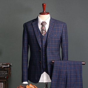 Wholesale 2019 Navy Check Mens Suits Slim Fit Groom Tuxedos Pieces Grid Formal Business Groomsman Blazers Jackets Vests Pants