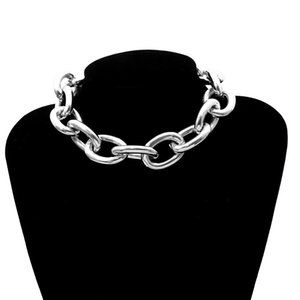 Wholesale Women Goth Jewelry Punk Rock Statement Necklace Gothic Chunky Chain Choker Necklace Bracelet Earrings Set Vintage Collier Femme