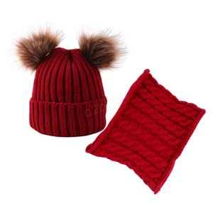 Winter Hat Scarf Boys Girls Pom Pom Cap Set Kids Winter Knitted Cotton Beanies Cute Furry Balls Baby Warm Caps Scarves Set LJA3084