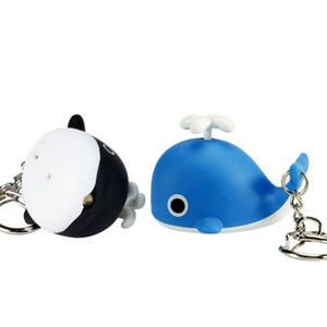 Cartoon Keychain with LED Night Lights Music-making Emergency Flashlight Backpack Pendant Pendant Lovely Whale Cartoon Children's Gifts
