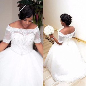 Wholesale African Plus Size White Ivory Ball Gown Wedding Dresses with Short Sleeves Lace up Boat Neck Beaded Crystals Wedding Gowns