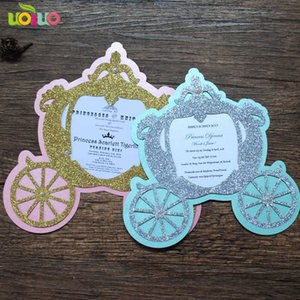 Wholesale 2018 hot sell lovely fancy baby birthday invitation card laser cut paper Fairy tale carriage christening and baptism invitations