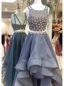 Gorgeous Grey Hi Low Ruffles Prom Party Dresses Square Neck Crystal Organza Beaded Ruched Celebrity Evening Formal Dress Long Cheap on Sale