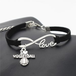 2019 Fashion Black Leather Suede Infinity Love I Heart Volleyball Bracelet & Bangles for Man Woman Charm Friend Gift Party Jewelry Wholesale