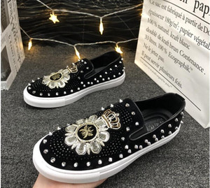 robe diamant chaussure achat en gros de-news_sitemap_homeNouveau pissenlit Spikes Chaussures en cuir plat Strass Fashion Hommes Broderie Loafer Robe Chaussures Smoker Slipper Casual Diamond Shoe