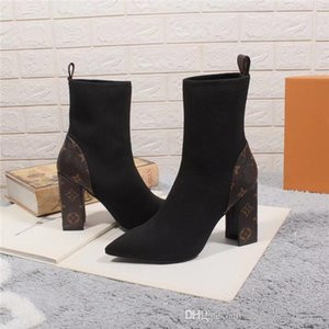 Wholesale The latest sock booties classic high heel bare boots womens autumn and winter boots with leather outsole heel height cm
