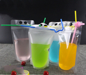 Fedex DHL Drink Pouches Bags frosted Zipper Stand-up Plastic Drinking Bag with straw with holder Reclosable Heat-Proof 17oz
