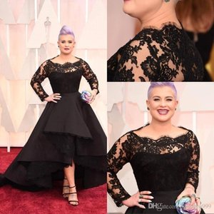 Black Lace High Low Evening Dresses Long Sleeve Sheer Bateau Plus Size Evening Gowns Custom Made A-Line Prom Dress on Sale