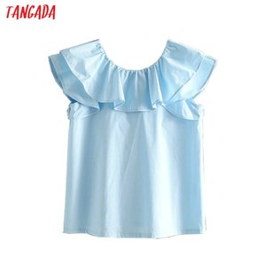 Wholesale Tangada women ruffle cotton blouses shirts blue vintage sweet back bow tie shirt short sleeve ladies casual summer top L04